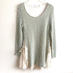 ALTAR'D STATE Boho Lace Ribbon Sweater Dress Green